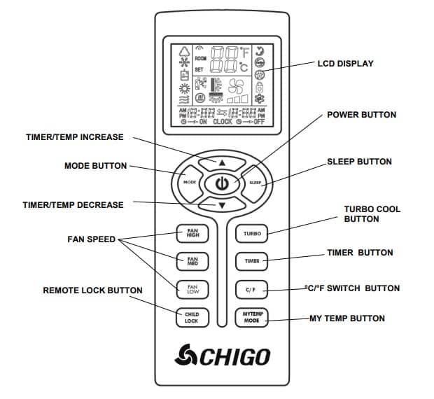 Chigo Portable Air Conditioner Remote Control