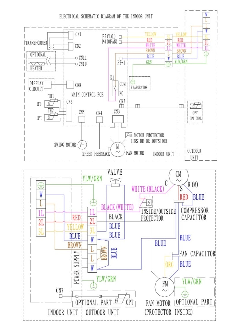 TCL Split Type AC Electrical Schematic Diagram