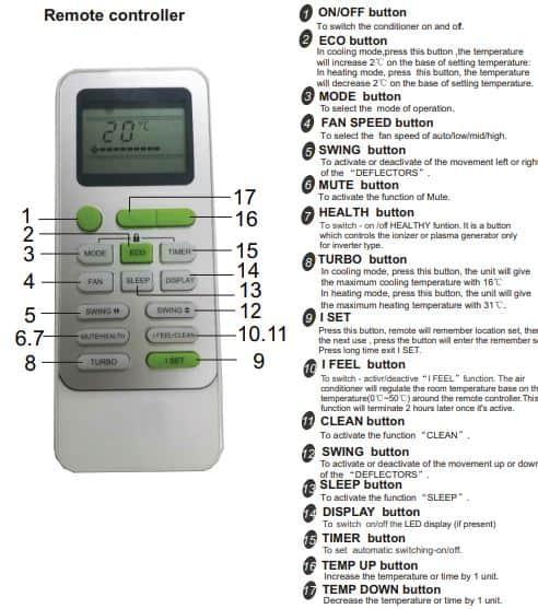 daihatsu air conditioner remote controller