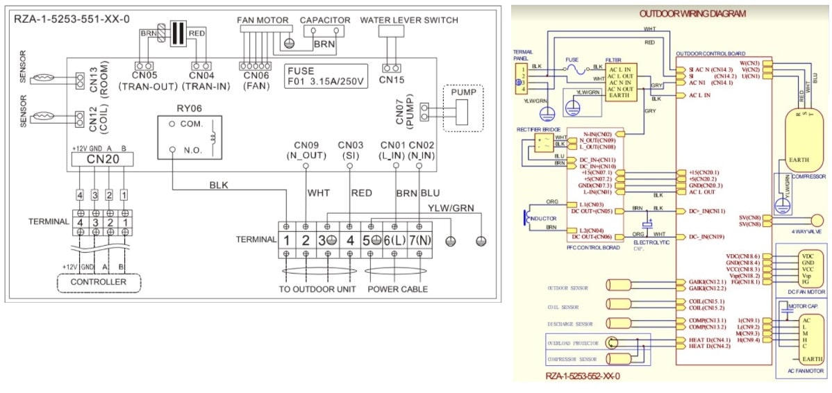 Hisense AC Indoor and Outdoor Electrical wiring diagrams
