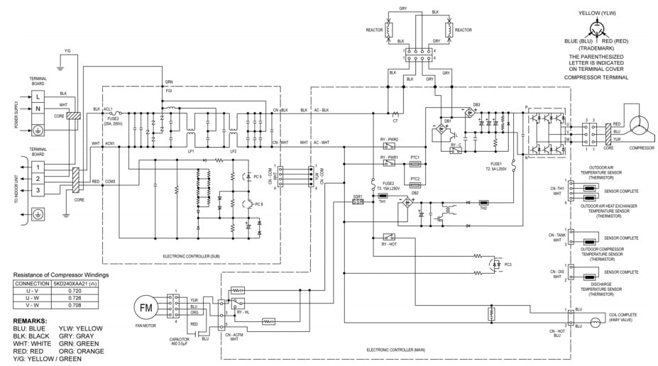 Panasonic AC Wiring Connection Diagram-Outdoor Unit